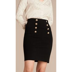 --evaChic--This Burberry London Stretch Technical Cotton Military Skirt will complement all your corporate outfits, giving them a military touch which is quite on-trend right now. The fabric follows the body contours offering a pleasant feel. The skirt is paneled and tailored creating a sleek day-to-evening look. It's statement-making!      http://www.evachic.com/product/burberry-london-stretch-technical-cotton-military-skirt/
