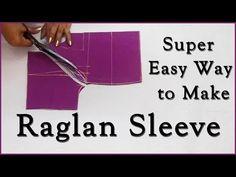 Super Easy Way to Make Raglan Sleeves Sleeves Designs For Dresses, Sleeve Designs, Blouse Designs, Salwar Kameez Neck Designs, Youtube Sewing, Sewing Sleeves, Stitching Dresses, Sewing Alterations, Stylish Blouse Design