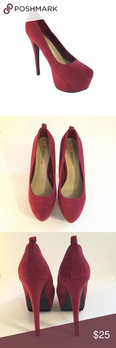 "JustFab Rouen Size 6.5. Burgundy. 6"" heel. Faux suede JustFab Shoes Heels"