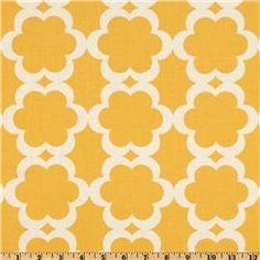 Fabric for playroom bench seat - Taza Tarika Yellow from fabric.com