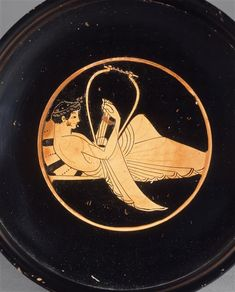 Red-figured kylix (5th BC) young man playing the lyre - Louvre