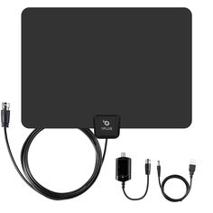1PLUS 50 Miles Range Digtial Amplified TV Antenna with Detachable Amplifier, HDTV Indoor Antenna for High Reception-10ft Coax Cable