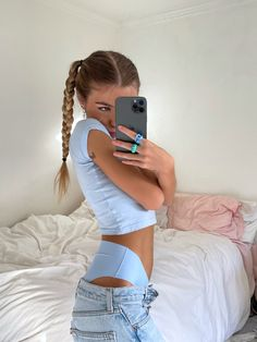 Pigtail Hairstyles, Pretty Hairstyles, Monochrome Outfit, Cute Poses For Pictures, Seamless Underwear, Summer Girls, Get Dressed, Hair Inspo, Unique Fashion