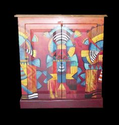 Mexican Painted Furniture | Southwest Katchina Cabinet