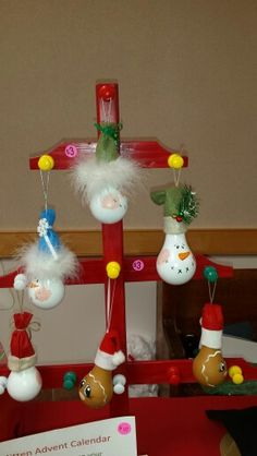Snowman and Gingerbread Light Bulb Ornaments by SJV Ladies Club