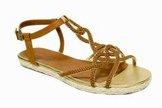 Modèle BALTAZAR sandale plate tressée camel Mellow Yellow - Camille Daurel design été 2007