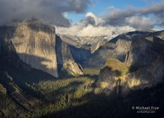 """El Capitan and Bridalveil Fall get late-afternoon sunlight when seen from the west end of Yosemite Valley."" by Michael Frye"