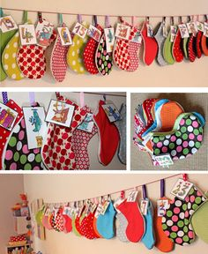 Le calendrier de l& . Christmas Craft Projects, Holiday Crafts For Kids, Christmas Crafts, Christmas Bunting, Christmas Sewing, Christmas Stockings, Advent Calendars For Kids, Diy Advent Calendar, Christmas Makes