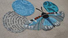 Composia fidelissima Var. 3.0 Fiber Art-Hand embroidery Fiber Art, Hand Embroidery, Insects, Butterfly, Textiles, Drawings, Vintage, Ideas, Bullion Embroidery