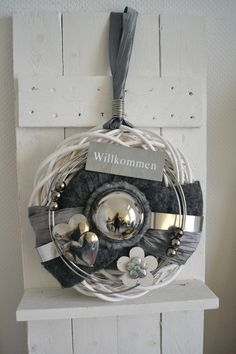 Türkranz 37 cm mit Silberkugel Willkommen
