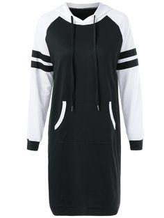 Raglan Sleeve Midi Hooded Dress