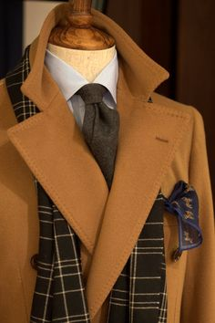 lnsee:    Drake's Charcoal Cashmere TieRing Jacket Double Breasted CoatLiverano & Liverano ShirtDrake's Cashmere Scarf