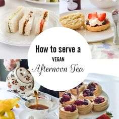 "A Vegan Afternoon Tea::Vegan Tea Sandwiches - cucumber, roasted pepper & pesto and caramelized onion & hummus + // Vegan scones topped w/your choice of jams,  amazing coconut ""clotted cream"" and fresh strawberries//Vegan Mini Desserts - a selection of petit fours and pastries. Recipes included.. ."