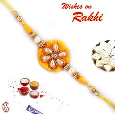 Picture of Yellow and Golden Rakhi with pearl work