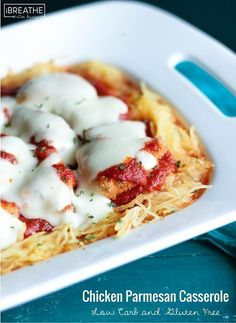 This low carb chicken parmesan casserole is easy & delicious - guaranteed to be a hit with picky kids & husbands too! Gluten free, keto, & Atkins friendly!