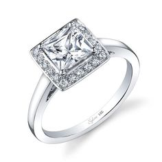 Square Radiant Cut Diamond Engagement Ring from Sylvie