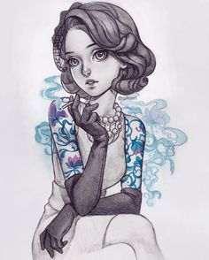 """Classy tattoo lady #pencil + #gouache version."""