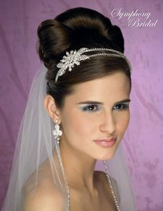 Symphony Bridals- magnificent veil and double bandeau with crystal floral adornment