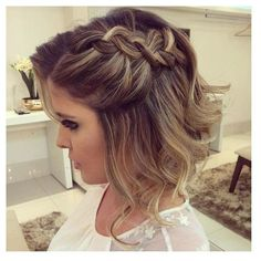Short Brown Blonde Highlighted Hair Braided Half Updo ❤ liked on Polyvore featuring hair