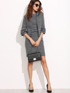 Shop Tweed Sheath Dress With Fringe Tape Detail online. SheIn offers Tweed  Sheath Dress With 1b37debbd613