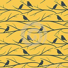 Seamless pattern background with silhouettes of tree branches and birds on yellow background. Pattern Background, Yellow Background, Branch Vector, Bird On Branch, Tree Silhouette, Mandala Design, Birds, Stock Photos, Tree Branches