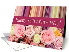 Wedding Anniversary Card - Pastel roses and stripes card Created from an original Studio Porto Sabbia photo! This Pastel roses and stripes wedding anniversary card is available for anniversary years 1 to 75 and for some non-english languages. Happy Anniversary Cards, Wedding Anniversary Invitations, Anniversary Years, Anniversary Gifts, Anniversary Verses, Wedding Anniversary Greetings, Wedding Aniversary, Anniversary Message, Pastel Roses