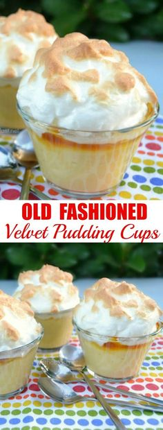 These old-fashioned Velvet Pudding cups are silky smooth with a delicious sweet layer between the pudding and the meringue ~ Quick to make and can be served at room temperature or warm #Pudding #ComfortDessert #Baking #Fluweelpoeding