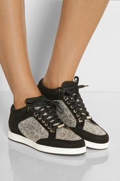 Jimmy Choo|Miami glitter-finished canvas and suede sneakers. Could they *be* any better?!?