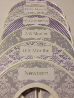 6 Custom Baby Closet Dividers Organizers Shabby Chic Grey and Lavender - Custom Baby Closet Clothes Organizers