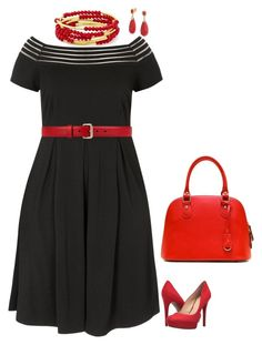 """""""City Chic sailor dress, red accessories."""" by sara-mcmillen on Polyvore featuring Jessica Simpson, Gucci, Chrysalis and Bling Jewelry"""