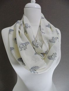 Your place to buy and sell all things handmade Elephant Pattern, Cute Elephant, Loop Scarf, Circle Scarf, Save Mother Earth, Spring And Fall, Fall Winter, White Chiffon, Chiffon Fabric