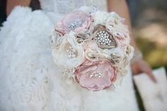 Floral Vintage Fabric Brooch Bridal Bouquet