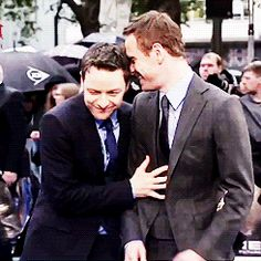 James McAvoy and Michael Fassbender at the UK premiere of 'X-Men: Days Of Future Past' on May 12, 2014 in London, England. #this gif killed me#mcfassy