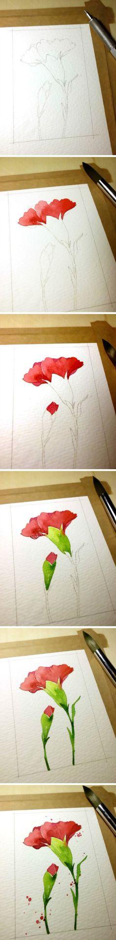 【绘画教程】鸡冠花(虹撒花)画法-插画家园-插画家园原创水彩插画-插画家园【小白的花花世界——第四辑】-3-插画家园,治愈系植物小清新 - 堆糖 发现生活_收集美好_分享图片