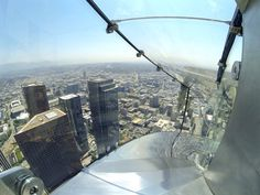 Take a ride down the OUE Skyspace LA Skyslide glass slide 1,000 feed above ground at the U.S. Bank Tower in Downtown Los Angeles