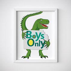 Boys Only green dinosaur nursery printable wall art home decor