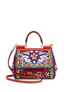 Dolce & Gabbana - Mini Embroidered Leather Top-Handle Satchel
