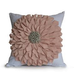 Dorm Pillow Flower Pillow Cover Blush Pink White by AmoreBeaute