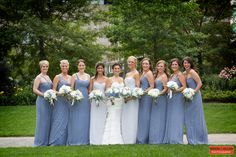 Rose Kennedy Greenway, Wedding Formal Photography, Boston Wedding Photography, Bridesmaids and Maids of Honor, Seven Bridesmaids, Slate Blue Wedding Palette Inspiration, Boston Event Photography