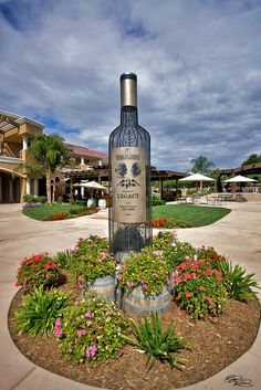 wine tours the inviting wine bottle sculpture at Wilson Creek Winery