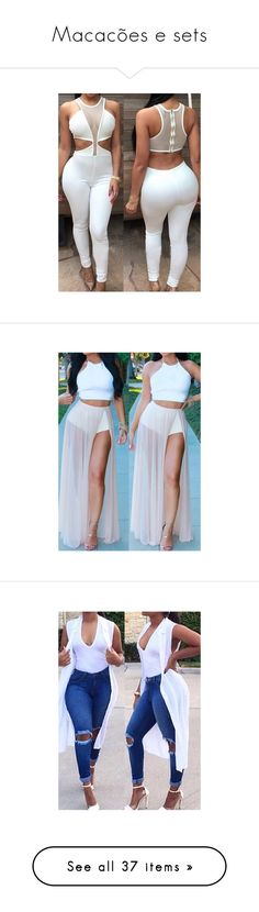 """""""Macacões e sets"""" by marciafernandes-1 ❤ liked on Polyvore featuring jumpsuits, white, jump suit, white jumpsuit, white sleeveless jumpsuit, print jumpsuit, sleeveless jumpsuit, dresses, outfits and sleeveless maxi dress"""