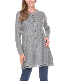 Another great find on #zulily! Gray Crochet Cardigan - Women & Plus by Ananda's Collection #zulilyfinds