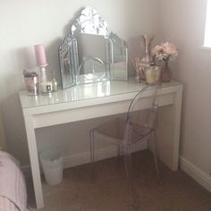 Desk used as dressing table for makeup storage with ghost chair ikea