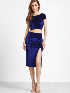 Shop Royal Blue Twist V Back Velvet Top With Split Pencil Skirt online. SheIn offers Royal Blue Twist V Back Velvet Top With Split Pencil Skirt & more to fit your fashionable needs. One Piece Dress, Two Piece Outfit, Dress Up, Skirt Fashion, Fashion Outfits, Fashionable Outfits, Fashion Shoes, Royal Blue Skirts, Tango Dress