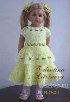 Платье для девочки крючком. Работа Валентины Литвиновой. Вязание крючком.