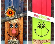 Reversible Pallet Decor, Pick Scarecrow, Snowman, Easter Bunny Or Leprechaun These are hand painted with outdoor paint on weathered pallet… Fall Wood Crafts, Halloween Wood Crafts, Christmas Wood Crafts, Grinch Christmas, Pallet Crafts, Outdoor Christmas Decorations, Christmas Projects, Holiday Crafts, Christmas Crafts