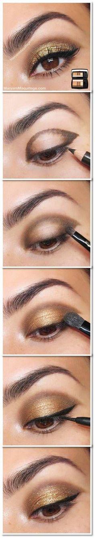 Le regard disco : Fard à paupières marron, eye liner très noir, mascara volume et paillettes dorés: voilà les ingrédients de ce make up de choc!