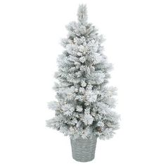 Get ready to wrap your lights and hang your ornaments on this majestic pine artificial christmas tree that comes with pot. Pre-Lit Led Artificial Christmas Tree Slim Potted Flocked Ashton Pine - with 150 Warm White Lights Green Potted Christmas Trees, Ribbon On Christmas Tree, Potted Trees, Christmas Tree Decorations, House Decorations, Gold Christmas, Xmas Tree, Christmas Crafts, Artificial Tree