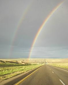 Double rainbow over I-40 in western New Mexico