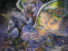 Au-dessus des nuages, un ange chevauche sa précieuse monture, accompagné par son entourage des papillons. Porté par une licorne ailée dont les ailes puissant contenir un royaume céleste, où une armée d'anges jouent de leurs instruments de gloire du matin, elle tient fermement sur sa crinière. Comme il vole le bout de ses ailes créent de nouvelles galaxies.